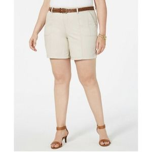 Style & Co Cargo Shorts Belted Beige 20W New